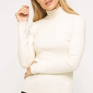NWT Mystree Corded Mock Neck Pullover Sweater